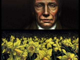 Daffodils (diptych) Japanese sumi ink & acrylic on canvas 305 x 610 mm (12 x 24 in) per canvas 2015