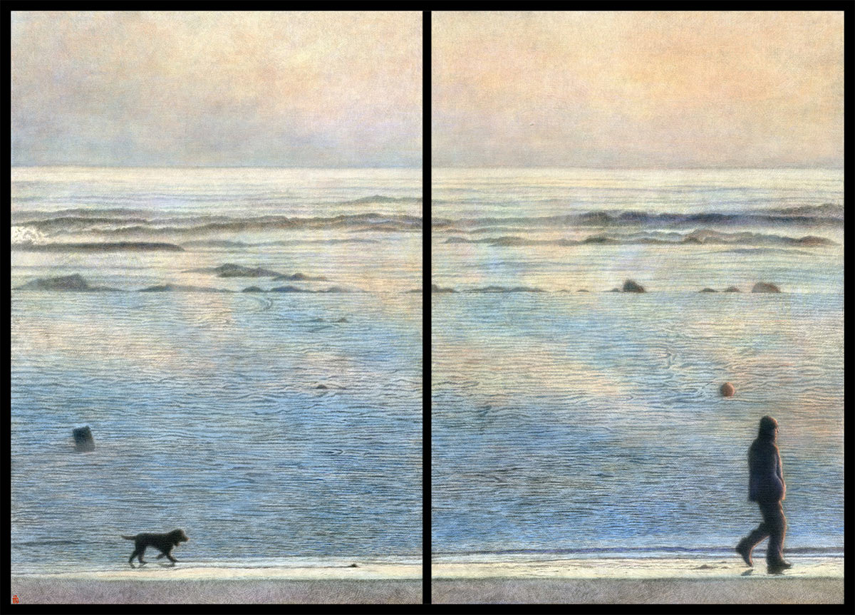 Hazy Shade of Winter (diptych) Japanese sumi ink & acrylic on canvas 1000 x 700 mm (39½ x 27½ in) per canvas 2008