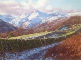 Langdale Pikes from Loughrigg track Medium: pastel
