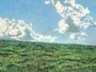 Lamb on a Hill Japanese sumi ink & acrylic on canvas 600 x 1500 mm (23½ x 59 in) 2009