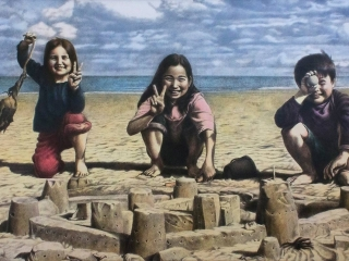 Title: Sandcastle Medium: Japanese sumi ink & acrylic on canvas Size: 1000 x 1500 mm (39½ x 59 in) Year: 2007