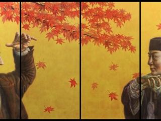 Walking Poets (quadriptych) Japanese sumi ink & acrylic on aluminium plates 600 x 300 mm (24 x 12 in) per aluminium plate 2016