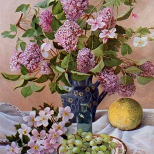 Still Life with Lilacs and Melon