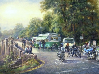 Leather and Chrome Kirkby Lonsdale. Oil
