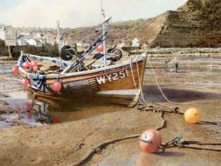 Digging For Bait, Staithes  Watercolour