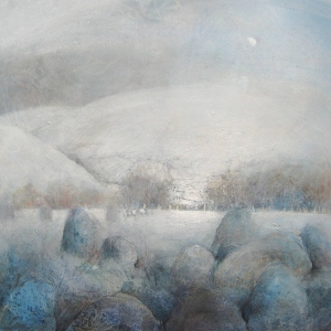 castlerigg stone circle, snow and half moon