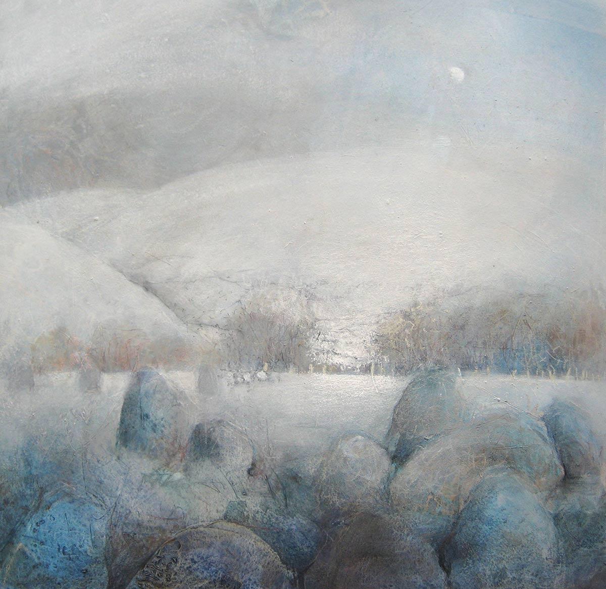 castlerigg stone circle, snow and half moon